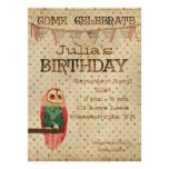 Rosa Owl Birthday Invitation
