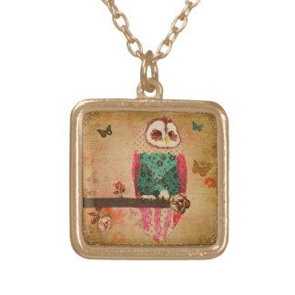 Rosa Owl Gold Vintage  Necklace