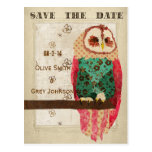 Rosa Owl Save The Date Postcard