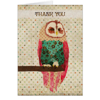 Rosa Owl Thank You  Card
