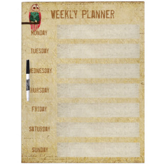 Rosa Owl Weekly Planner Dry Erase Board