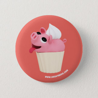 Rosa the Pig are a cup cake 6 Cm Round Badge