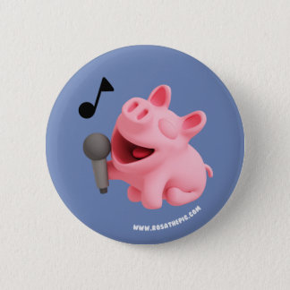 Rosa the Pig does Karaoke 6 Cm Round Badge