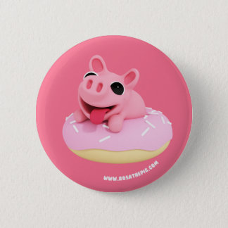 Rosa the Pig in a Donut 6 Cm Round Badge