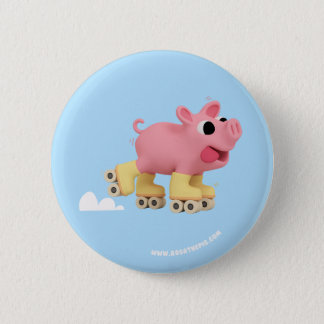 Rosa the Pig rollerskating 6 Cm Round Badge