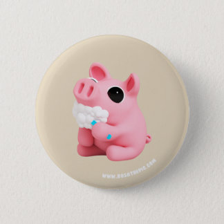 Rosa the Pig Tooth Brushing 6 Cm Round Badge