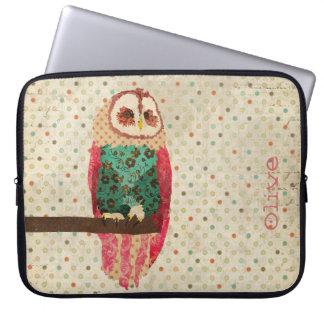 Rosa Vintage Owl  Computer Sleeve