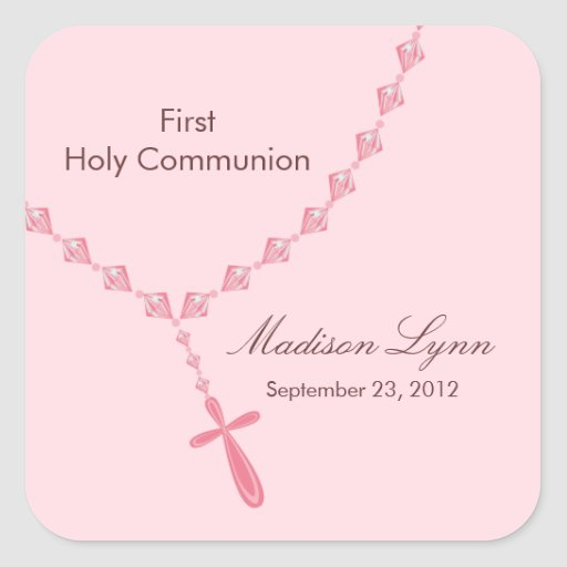 Rosary Beads First Holy Communion Pink Brown Sticker