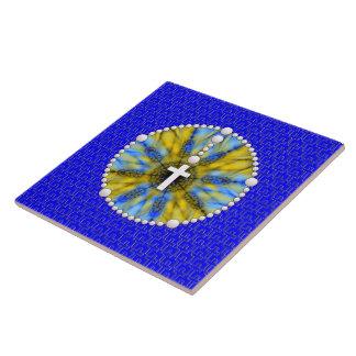 Rosary Dream Catcher Blue Yellow Ceramic Tiles