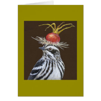 Roscoe the black and white warbler card