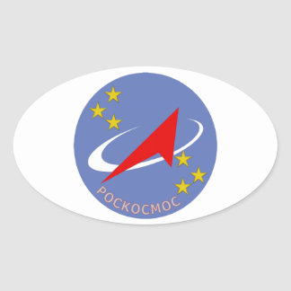 Roscosmos Flight Logo Round Oval Sticker
