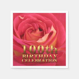 Rose 100th Birthday Celebration Paper Napkins Standard Cocktail Napkin