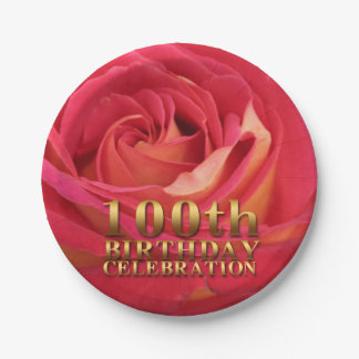 Rose 100th Birthday Party Paper Plates 7 Inch Paper Plate