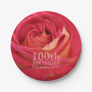 Rose 100th Birthday Party Paper Plates -2- 7 Inch Paper Plate