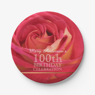 Rose 100th Birthday Party Paper Plates -3- 7 Inch Paper Plate