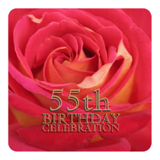 "Rose 55th Birthday Celebration Custom Invitation 5.25"" Square Invitation Card"