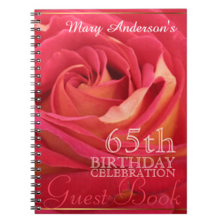 Rose 65th Birthday Celebration Custom Guest Book Notebooks