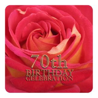 "Rose 70th Birthday Celebration Custom Invitation 5.25"" Square Invitation Card"