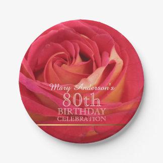 Rose 80th Birthday Celebration Paper plates -2-