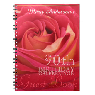 Rose 90th Birthday Celebration Custom Guest Book Spiral Note Book