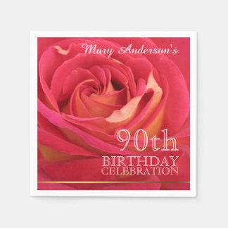 Rose 90th Birthday Celebration Paper Napkins -2- Standard Cocktail Napkin