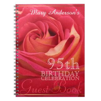 Rose 95th Birthday Celebration Custom Guest Book Spiral Note Books