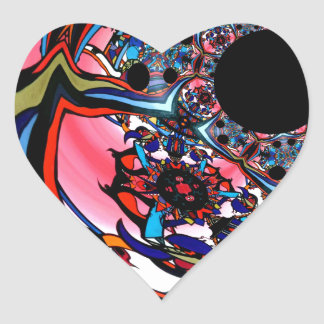 Rose abstract floral art Red Black Blue Heart Sticker