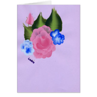 Rose and blue flowers greeting card