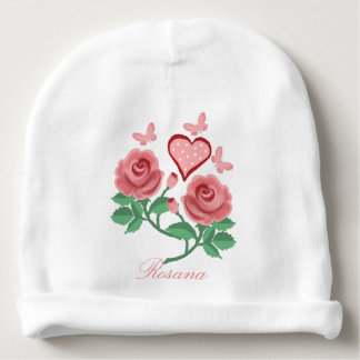 rose and butterflies baby beanie