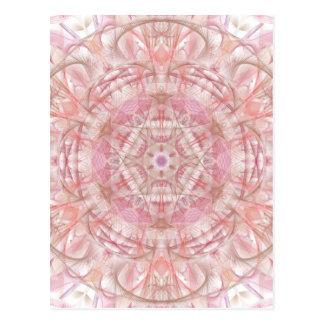 Rose and coral pink mandala postcard