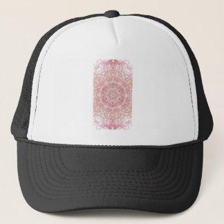 Rose and coral pink mandala trucker hat