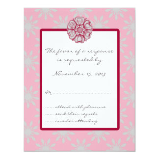 Rose and Dove Grey Wedding RSVP Card Invitations