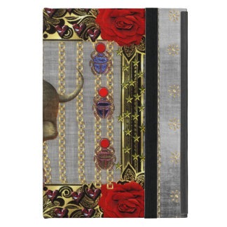 Rose and Golden Skull iPad Mini Cover
