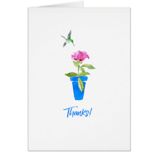 Rose and Hummingbird Thanks Card