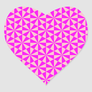 Rose and pink triangles pattern heart stickers