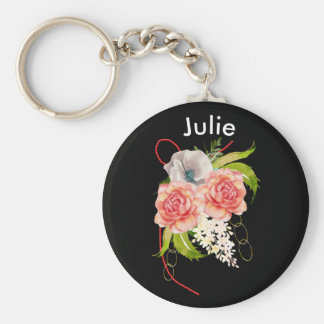 Rose and Red Beads Bouquet Key Ring