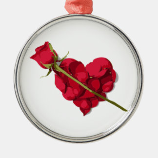 Rose and Rose Petals Heart Silver-Colored Round Decoration