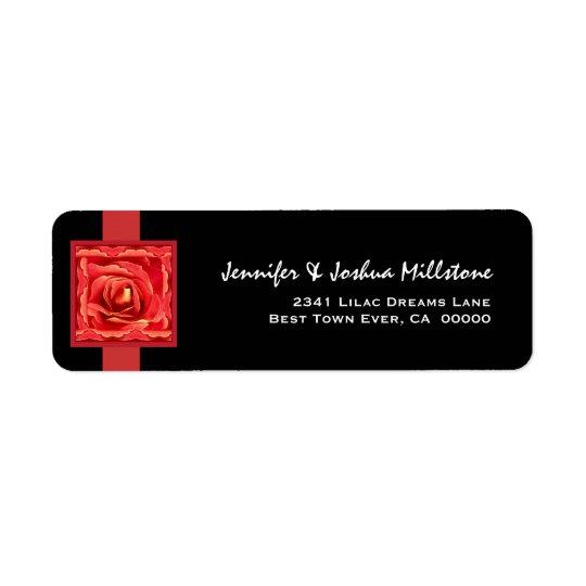 Rose and Rose Petals Return Address Label