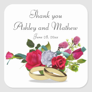 Rose and Wedding Ring Wedding Thank You Stickers