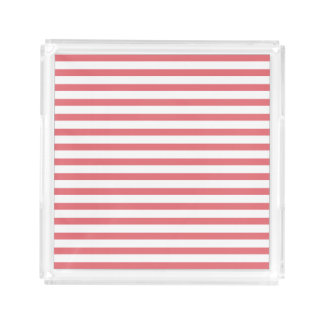 Rose and White Horizontal Stripe Acrylic Tray