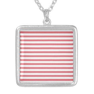 Rose and White Horizontal Stripe Custom Necklace