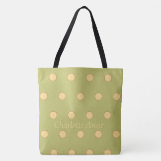 Rose and Yellow Polka Dots on Green Personalized Tote Bag