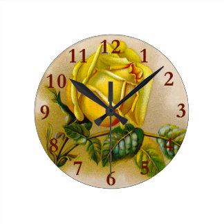 Rose Antique Yellow Flower Round Clock