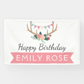 Rose Antlers & Party Bunting Birthday Decor Banner
