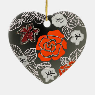 Rose Art Ceramic Heart Decoration