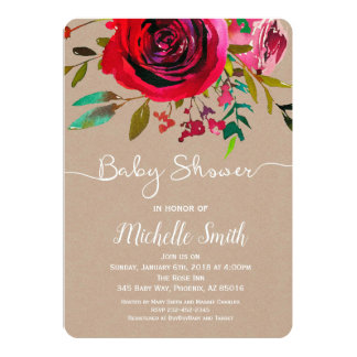 Rose Baby Shower Invitation, Kraft Baby Invitation