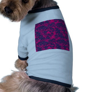 Rose background with blue elements ringer dog shirt