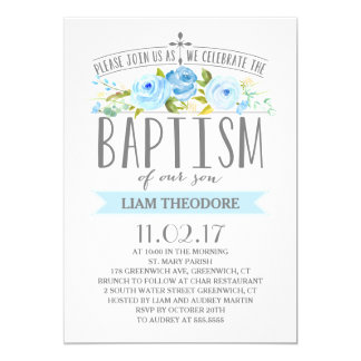 Rose Banner | Boy Baptism Invitation