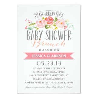 Rose Banner Brunch | Baby Shower Invitation