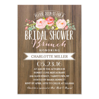 Rose Banner Brunch | Bridal Shower 13 Cm X 18 Cm Invitation Card